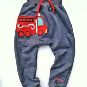 Otroške baggy hlače modre z gasilskim avtom