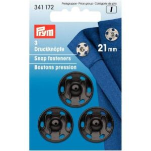 Prišivni pritiskači črni 21mm Prym