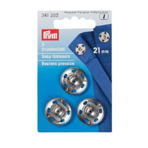 Prišivni pritiskači srebrni 21mm Prym