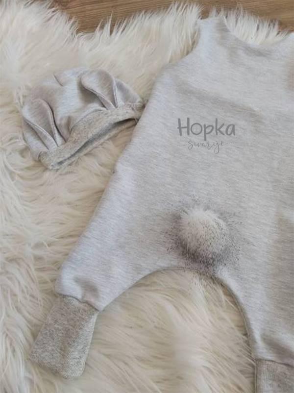 Komplet sivi zajček hrbtna stran Hopka-1